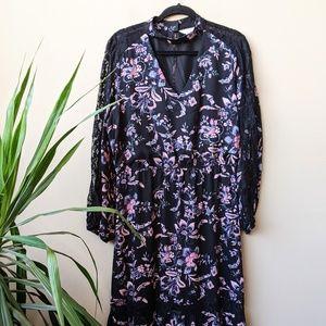 Belle & Sky Floral V Neck Choker Maxi Dress sz XL